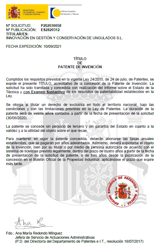 Primera patente concedida a INGULADOS
